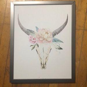 Floral Bull Skull Wall Art